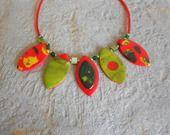collier calissons multicolores pâte fimo polymère : Collier par elisabijoux