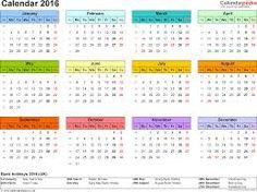 Bildergebnis für printable calendar for 2016