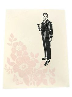 Handy ORIGINAL handpulled linoleum print on by kathleenlaufman, $45.00