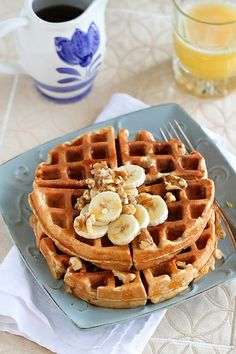 Whole Wheat Banana Walnut Waffles Recipe | kickingitin.com #breakfast #waffles #cleaneating by CookinCanuck, via Flickr