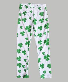 Look at this Urban Smalls White & Green Shamrock Leggings - Infant, Toddler & Girls on #zulily today!