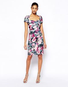 Paper+Dolls+Floral+Pencil+Dress+with+Sweetheart+Neckline