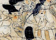 Ban dainagon ekotoba, détail de faciès plébéiens expressifs.