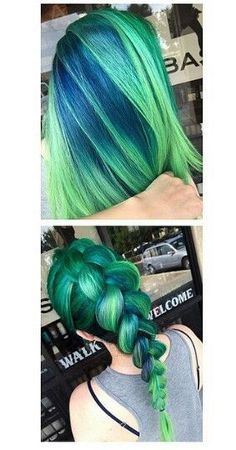 Green braided dyed hair color yeah ok so this is freaking amazing Beautiful Hair Color, Cool Hair Color, Dye My Hair, New Hair, Corte Y Color, Bright Hair, Colorful Hair, Hair Dye Colors, Coloured Hair