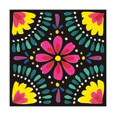 Trademark Fine Art 'Floral Fiesta Tile X' Canvas Art by Laura Marshall, Size: 35 x Black Folk Art Flowers, Flower Art, Art Floral, Mexican Paintings, Owl Paintings, Mexican Flowers, Paint And Sip, Mexican Folk Art, Diy Arts And Crafts