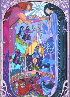 Tale of Luthien Tinuviel and Beren halfhand -     Part 1<---Notice Finrod Felagund dueling Sauron in the bottom-left corner.