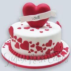 Valentine's or anniversary cake Heart Shaped Cakes, Heart Cakes, Mini Cakes, Fancy Cakes, Fondant Cakes, Cupcake Cakes, Fondant Tips, Buttercream Cake, Happy Anniversary Cakes