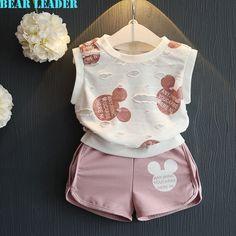 Bear Leader Girls Clothing Sets 2016 Fashion Summer Kids Clothing Sets Lovely Doll Print T-shirt+Short 2Pcs for Girls Clothes