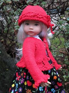 """Pretty Red Sweater Hat by Tuula Fits 13"""" Effner Little Darling to A """"T"""" 