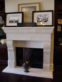 Love this limestone fireplace