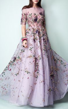Floral Embroidered Short Sleeve Gown by Georges Hobeika