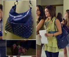 Aria's lime green ruffle top and scarf with studded blue handbag on Pretty Little Liars.  Outfit Details: https://wornontv.net/3929/ #PLL