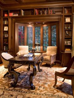 Home Office , Traditional Home Office Design : Traditional Home Office Design With Arm Chairs And Wooden Desk And Area Rug