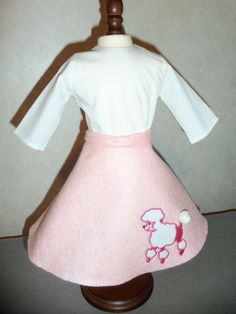 Poodle skirt with shirt halloween costume by CarolinaDollClothes, $8.00