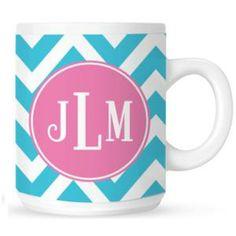 Monogrammed mugs! We love our chevron prints!