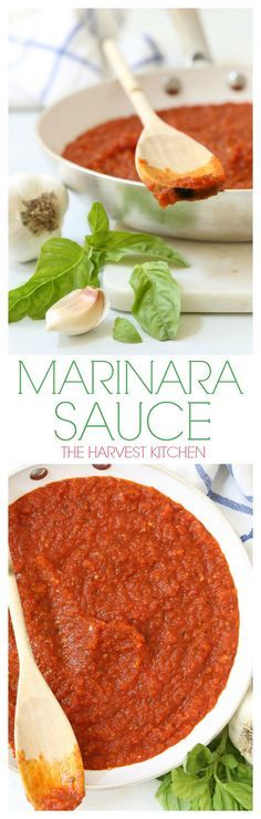 This Classic Marinara Sauce is a versatile little recipe to have on hand. It's humble ingredients are simmered for just 20 minutes into a richly flavored sauce that can be used in a myriad of ways. Great with chicken parmesan, noodles, and makes a delicious pizza sauce! @theharvestkitchen.com