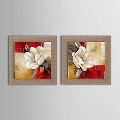 pintura a óleo moderna conjunto abstrato flor de 2 pintados à mão de linho natural, com quadro esticado – BRL R$ 410,37