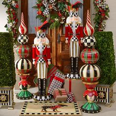 Dress your home for the holiday season in fabulously festive creations, uniquely MacKenzie-Childs. Gingerbread Christmas Decor, Christmas Topiary, Grinch Christmas Decorations, Dollar Tree Christmas, Nutcracker Christmas, Noel Christmas, Outdoor Christmas, Christmas Wreaths, Advent Wreaths