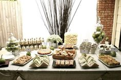 Nice food arrangement for shower or other parties...love the pears in the jars..
