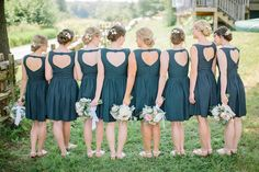 heart-shaped keyhole bridesmaids' dresses, photo by When He Found Her http://ruffledblog.com/brooklands-farm-wedding #bridesmaidsdresses #navy #wedding