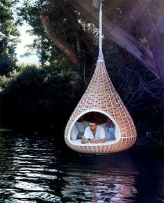 Outdoor reading nook and swing.