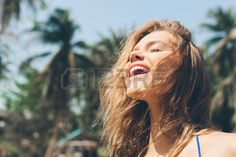 Beauty Sunshine Girl Portrait Pretty happy woman enjoying summer outdoors Sunny Summer Day under the Stock Photo