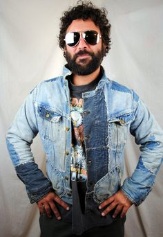 Distressed OOAK 80s Rocker Patchwork Denim Lee Wolf by RogueRetro