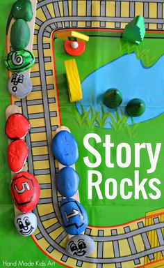 Fun Activities for Kids: Storytelling with Painted Rocks. Check out my 5 year old's clever way to move multiple rocks! Kids Learning Activities, Hands On Activities, Art Activities, Projects For Kids, Crafts For Kids, Rock Hand, Texas, Rock Crafts, Preschool Art
