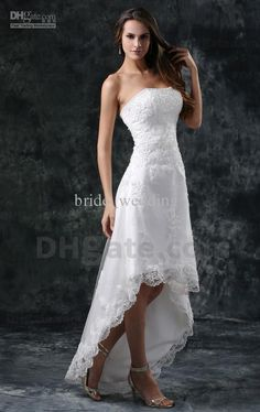 white wedding gowns short in front long in back - Google Search