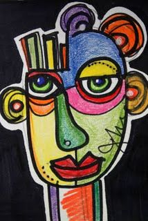 crayon and ink picasso like face. One student draws one side, another one the other side, another one puts the colors