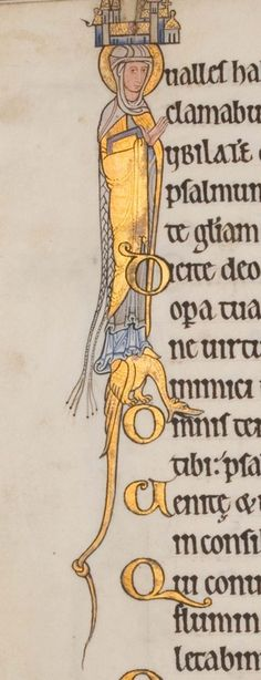 from the Hunterian Psalter, Glasgow University Library MS Hunter 229 thought to have been produced in England c. Formerly known as the York Psalter. Medieval Books, Medieval Manuscript, Medieval Times, Medieval Art, Renaissance Art, Illuminated Letters, Illuminated Manuscript, Illustrations Vintage, Illumination Art