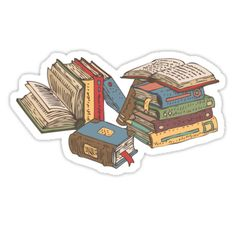 """""""Books"""" Stickers by deepfuze Stickers Cool, Tumblr Stickers, Printable Stickers, Laptop Stickers, Journal Stickers, Planner Stickers, Aesthetic Stickers, Sticker Design, Cute Wallpapers"""