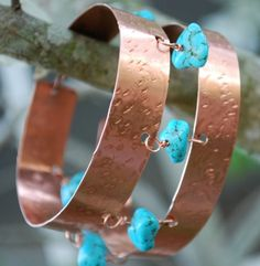 Copper and turquoise bracelet. Love this.