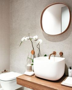 """Boutique Bathroom Brand on Instagram: """"A lovely powder room by Barake Design featuring the Piet Boon by COCOON inox basin tap in RAW Copper 👌  photo by Mirna Barake in Miami,…"""" Minimalist Bathroom, Modern Bathroom, Small Bathroom, Dark Bathrooms, Bathroom Taps, Boutique Bathroom, Stainless Steel Taps, Toilet Room, Basin Taps"""