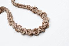 Fabric necklace, Beige cotton necklace, Knit necklace, Fiber necklace , Unique necklace, Natural colors