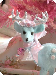 Blue flocked reindeer shabby pastel retro vintage christmas