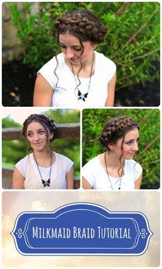 Milkmaid Braids...so summery and cute! #DIY #hairstyles #hairstyle #milkmaidbraid #cutegirlshairstyles #braid #updo
