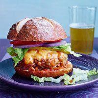 Turkey cheeseburger with beer-becue sauce on a pretzel bun. Rachael Ray