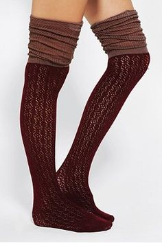 Pointelle Scrunch Over-The-Knee Sock
