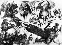 Kekeke by MattBarley bird eagle hawk falcon shadow night smoke demon devil monster beast creature animal | Create your own roleplaying game material w/ RPG Bard: www.rpgbard.com | Writing inspiration for Dungeons and Dragons DND D&D Pathfinder PFRPG Warhammer 40k Star Wars Shadowrun Call of Cthulhu Lord of the Rings LoTR + d20 fantasy science fiction scifi horror design | Not Trusty Sword art: click artwork for source