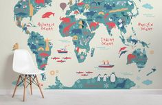 Explorer Kids World Map Mural, custom made to suit your wall size by the UK's for murals. Custom design service and express delivery available. World Map Wallpaper, Kids Room Wallpaper, Nursery Wallpaper, Photo Wallpaper, Wallpaper Ideas, Pattern Wallpaper, World Map Mural, Kids World Map, Bedroom For Girls Kids