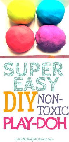 Super Easy DIY non-toxic Play-Doh #playdoughrecipe #playdough
