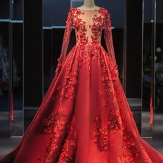 vestidos De Novia Red Wedding Dress Appliques A Line  Long Sleeve See Through Top Elegant Vintage Wedding Dress Robe De Mariage-in Wedding Dresses from Weddings & Events on Aliexpress.com | Alibaba Group