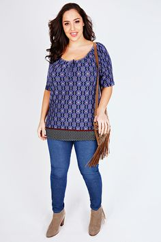 Yours Clothing Women/'s Plus Size Blue Zip Front Top