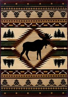 The Moose Wilderness rug is an Adirondack style cabin rug that will look great in any home. With a moose main theme, the evergreens, pine cones and canoe paddles combine for a crisp and clean looking rustic rug. cabinpace.com