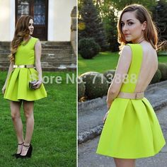 Women Neon Green Open Back Dresses Backless Sashes Party Short Mini Sexy  2014 Spring and Summer New Design Sundress Tunics Gowns 2090341d8