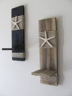 Reclaimed Upcycled Wood Plank Starfish Sconces - Wall Decor - Black - Beach Cottage - Home Decor - Nautical. $38.00, via Etsy.
