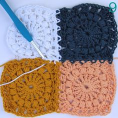 Joining the puff stitch Squares, step-by step tutorial by creJJtion in English and Dutch