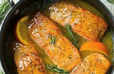 This Orange Rosemary Glazed salmon recipe is EASY and oh-so-delicious! Plus, the skillet helps create those perfectly browned edges that everyone loves. dinner salmon Orange Glazed Salmon Recipe with Rosemary - Cooking Classy Salmon Dishes, Fish Dishes, Seafood Dishes, Seafood Recipes, Cooking Recipes, Healthy Recipes, Healthy Weeknight Meals, Tilapia Recipes, Cooking Fish