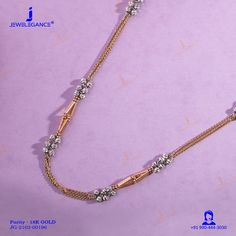 18k Fancy Chain (14.53 gms) - Plain Gold Jewellery for Women by Jewelegance (JG-2103-00196) #myjewelegance #chain #rosegoldjewelry #fancyjewellery #indianjewellers